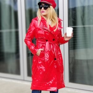 Red Vinyl Trench Coat Red